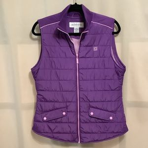 Vintage Liz Claiborne purple and pink zippered front puffer vest with pockets